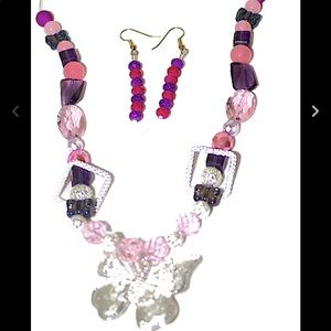 Handmade Girls Pink/Purple Jewellery Set